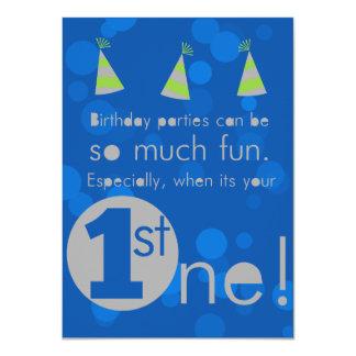 Blue and Green 1st boy's birthday invitation