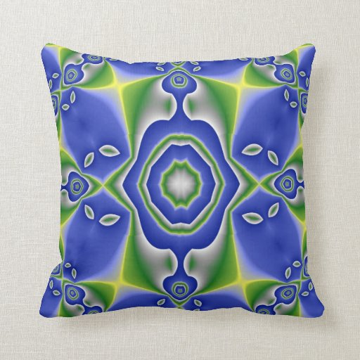 Blue and Green Abstract American MoJo Pillow