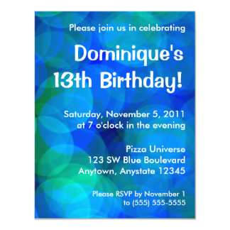 Blue and Green Abstract Circles Birthday Party 11 Cm X 14 Cm Invitation Card