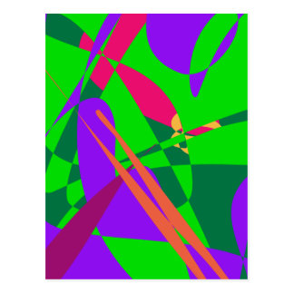 Blue and Green Abstract Composition Postcard