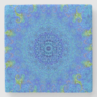 Blue and green abstract design coaster