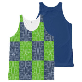 Blue and Green Abstract Design All-Over Print Tank Top