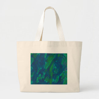 Blue and green abstract design large tote bag