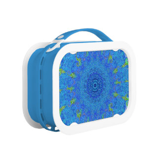 Blue and green abstract design lunchbox