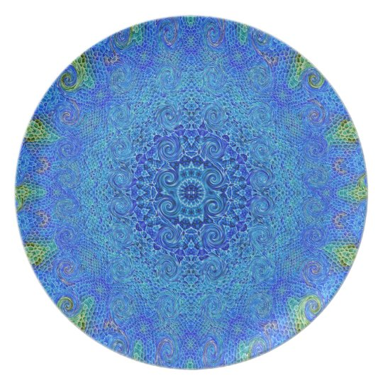 Blue and green abstract design melamine plate. plate