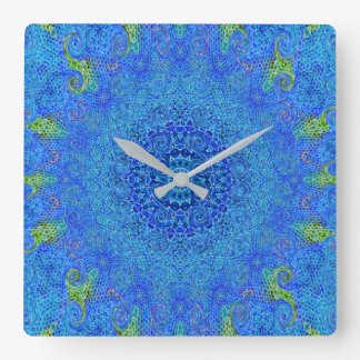 Blue and green abstract design wall clock