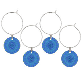 Blue and green abstract design wine charms