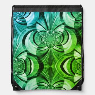 Blue and green abstract drawstring bag