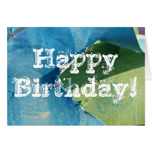 Blue and Green Abstract Paintings, Happy Birthday! Greeting Card