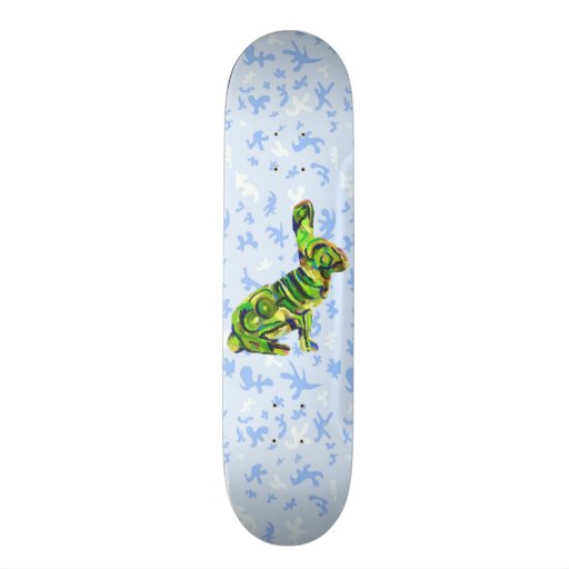 Blue And Green Amazing Bunny Board - For Skating! Custom Skateboard