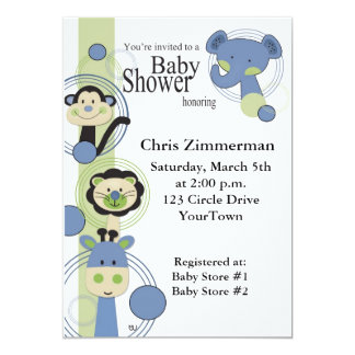 Blue and Green Animals Baby Shower for Boy Card