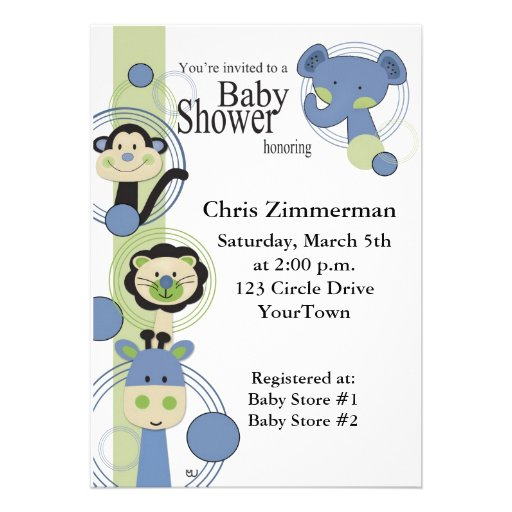 Blue and Green Animals Baby Shower for Boy Personalized Invitation