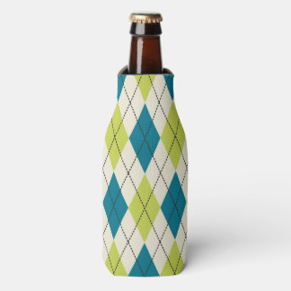 Blue And Green Argyle Bottle Cooler