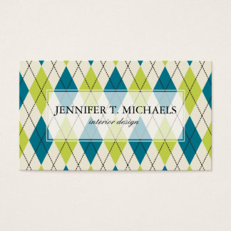 Blue And Green Argyle Business Card