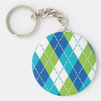 Blue and Green Argyle Key Ring