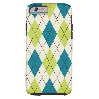 Blue And Green Argyle Tough iPhone 6 Case