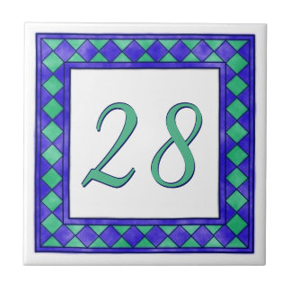 Blue and Green Big House Number Ceramic Tile