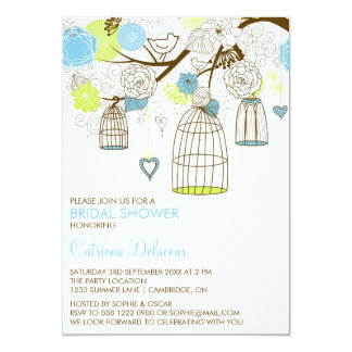 Blue and Green Birdcages Bridal Shower Invitation