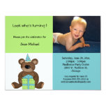 Blue And Green Birthday Teddy Bear Invitation
