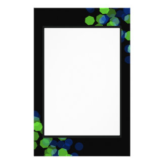 Blue and Green Bokeh Customized Stationery