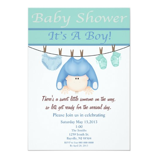 Blue And Green Boy Baby Shower Invitation