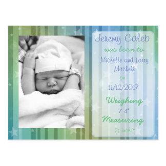 Blue and Green Boy Birth Announcement Postcard
