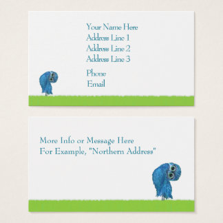 Blue and Green Burrowing Owl Decor Business Card