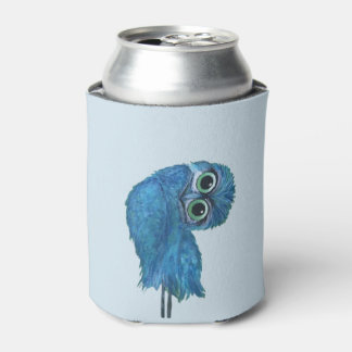Blue and Green Burrowing Owl Decor Can Cooler