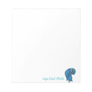 Blue and Green Burrowing Owl Notepad