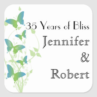 Blue and Green Butterfly Envelope Seal Square Sticker