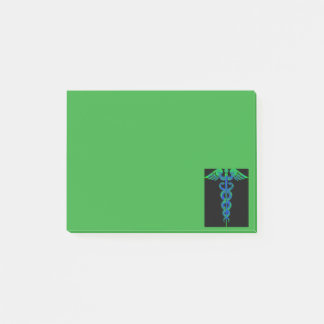 Blue and green caduceus sticky notes