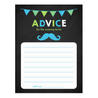 Blue and Green Chalkboard Baby Shower Advice Postcard