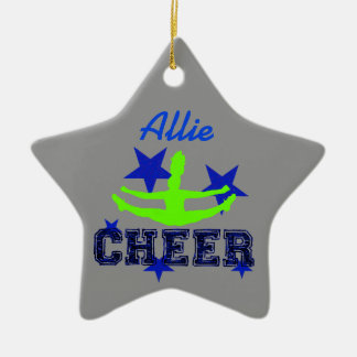 Blue and green cheerleader star ornament