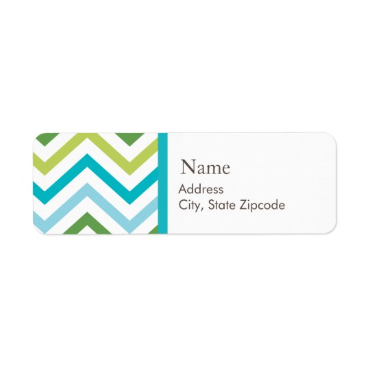 Blue and Green Chevron Address Label