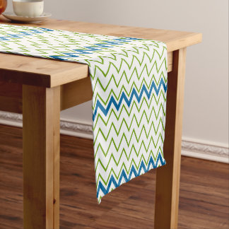 Blue and Green Chevron Pattern Short Table Runner