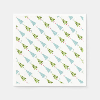 Blue and Green Christmas Slim Trees Paper Serviettes