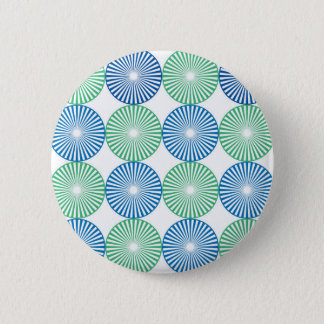 Blue and green circular design 6 cm round badge