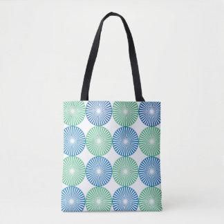 Blue and green circular design tote bag