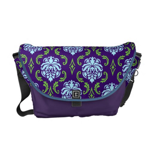 Blue and Green Damask Bag Courier Bag