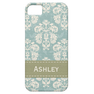 Blue and Green Damask Barely There iPhone 5 Case