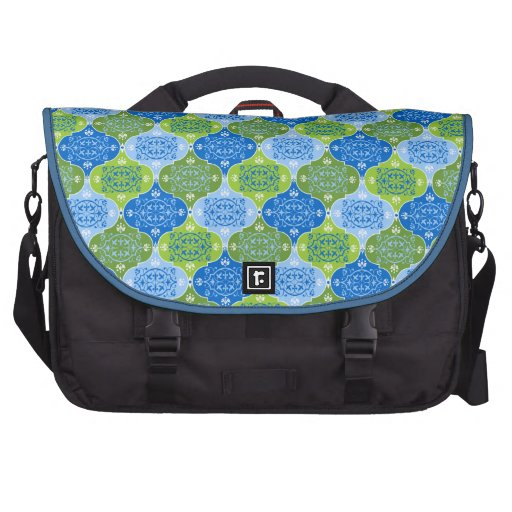 Blue and Green Damask Commuter Bag