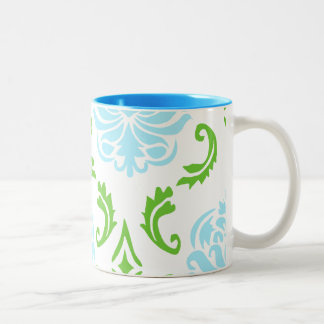 Blue and Green Damask mug