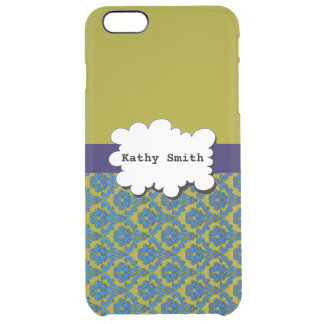 Blue and Green Damasks Print Uncommon Clearly™ Deflector iPhone 6 Plus Case