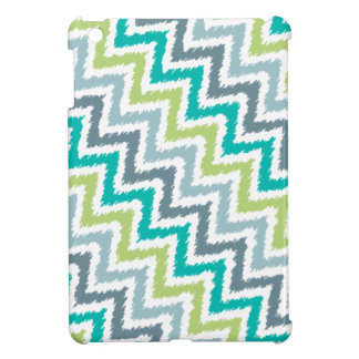 Blue and Green Diagonal Zigzag Ikat Pattern iPad Mini Cases