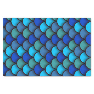 Blue and Green Fish Scales Under the Sea Birthday Tissue Paper