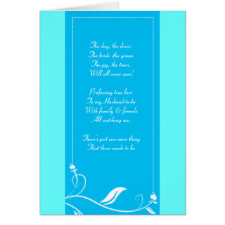 blue and green floral Be my bridemaid card