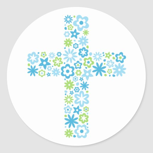 Blue and green floral cross easter seal sticker