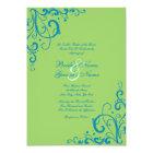 Blue and Green Flourish Wedding Invitation