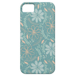 Blue and Green Flower Illustrated Pattern iPhone 5 Case