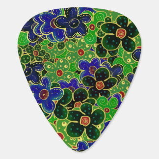 blue and green flower wreath guitar pick